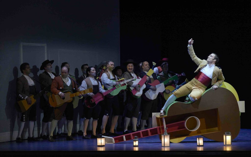 The cast of the Barber of Seville onstage at the Canadian Opera company 2020